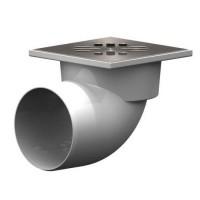 Трап горизонтальный 110 мм (150х150 мм) с нерж.решёткой и сухим затвором